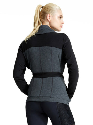 Heather Charcoal Pauline Jacket - Karma Athletics Apres Workout - back