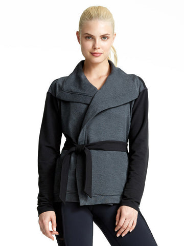 Heather Charcoal Pauline Jacket - Karma Athletics Apres Workout - front