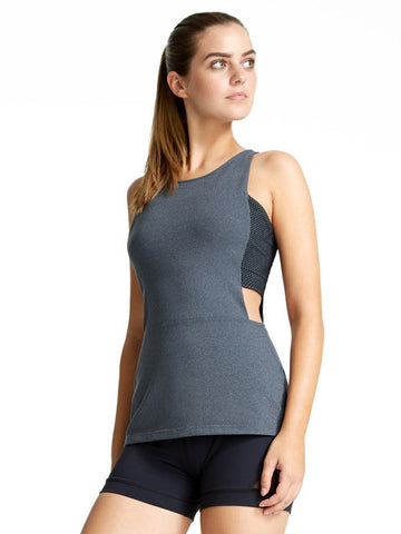 Heather Charcoal Theodora Tank - Karma Athletics Active - front