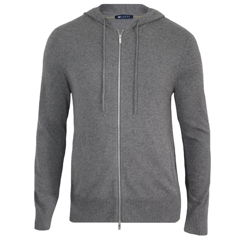 Heather Grey Cashmere Silk Zip Hoodie
