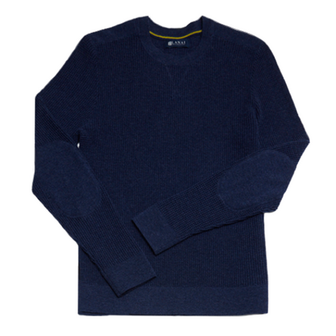 Wool and Cashmere Waffle Crewneck Sweater