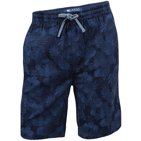 Navy Floral Drawstring Shorts