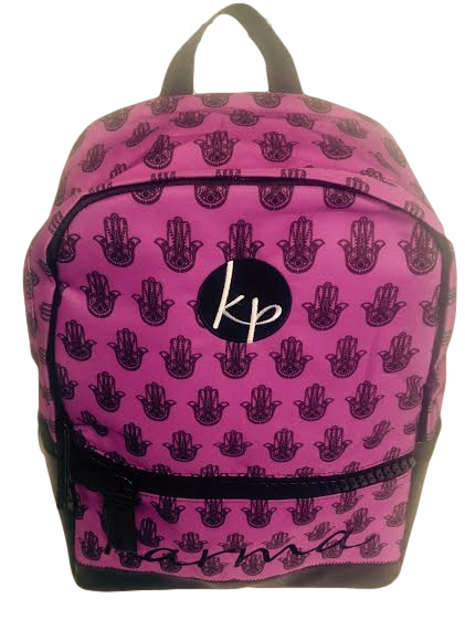 Karma Backpack - Black Hamsa Hand on Purple
