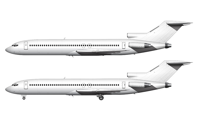 All White Boeing 727-200 template