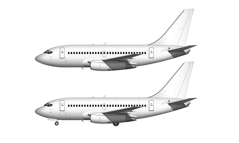 All White Boeing 737-100 retrofit template