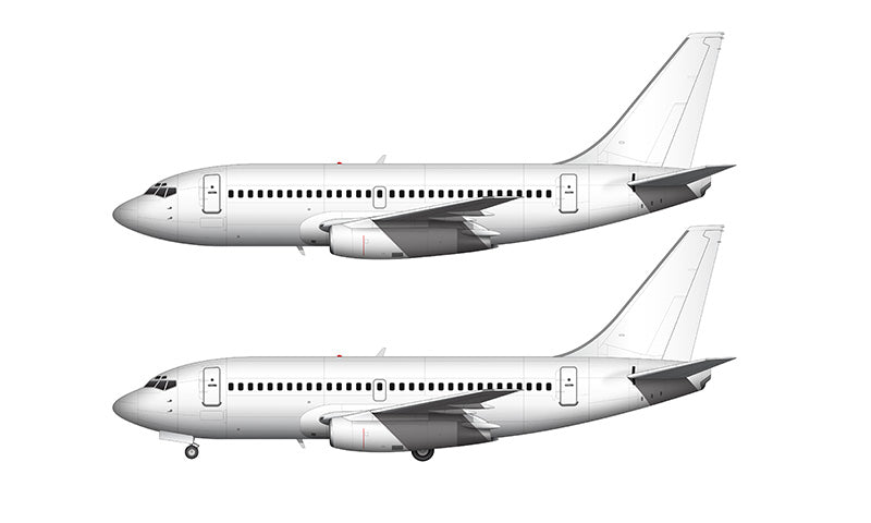 All White Boeing 737-200ADV template