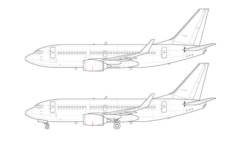 Boeing 737-300SP with blended winglets line drawing
