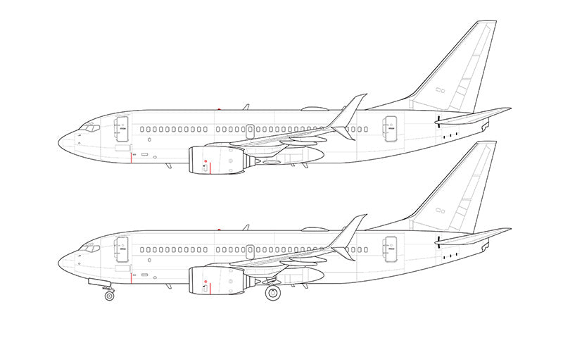 Boeing 737-700 with split scimitar winglets line drawing