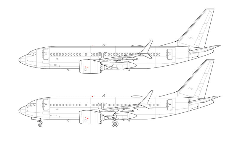 Boeing 737-7 MAX line drawing