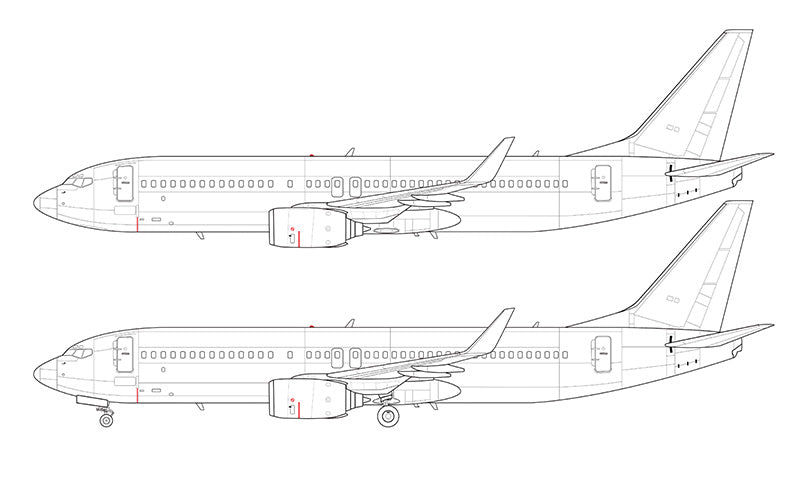 Boeing 737-800 with blended winglets line drawing