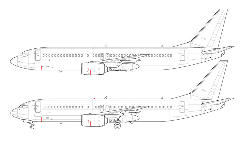 Boeing 737-800 without winglets line drawing