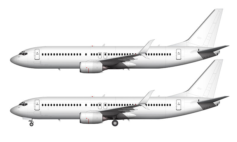 All White Boeing 737-800 template with split scimitar winglets