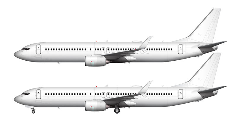 All White Boeing 737-900ER with split scimitar winglets template