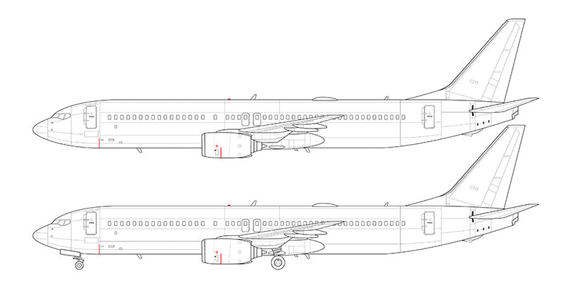 Boeing 737-900 without winglets line drawing
