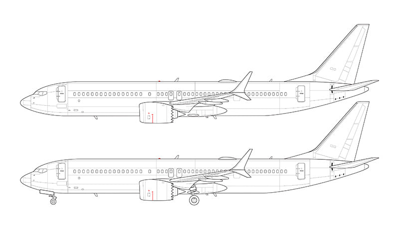 Boeing 737-9 MAX line drawing