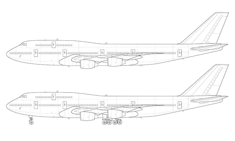 Boeing 747-300 with Rolls Royce engines line drawing