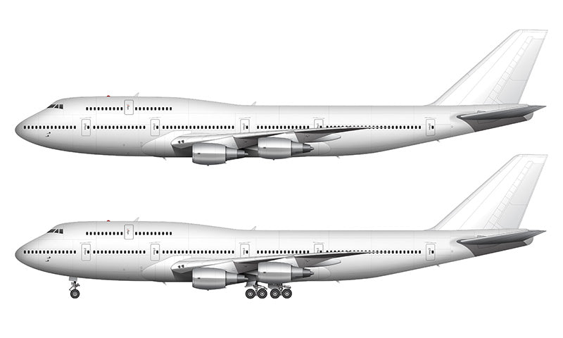 All White Boeing 747-300 with General Electric engines template
