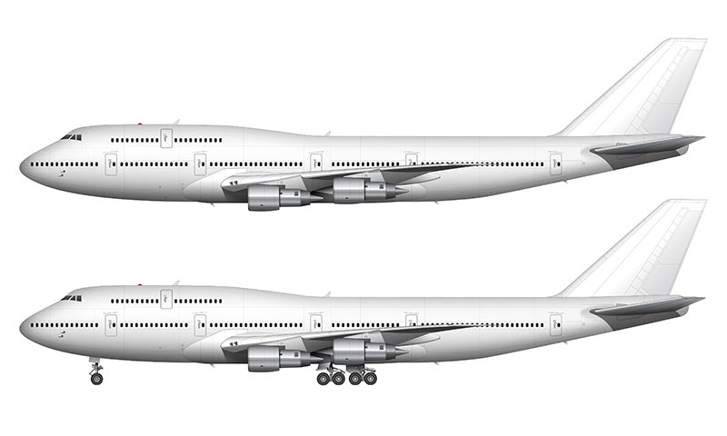 All White Boeing 747-300 with Pratt & Whitney engines template