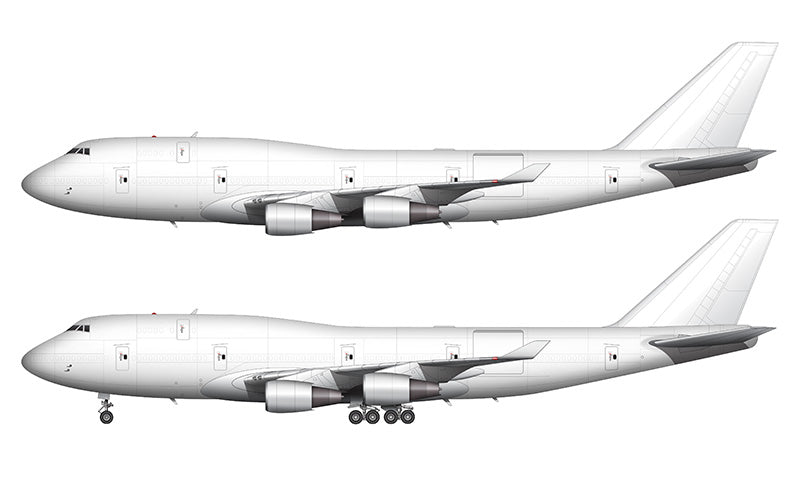 All White Boeing 747-400BCF template