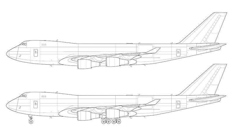 Boeing 747-400F line drawing