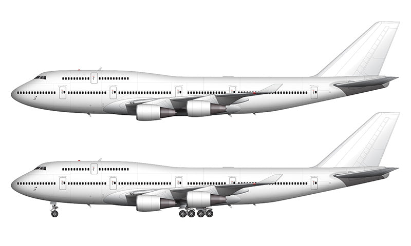 All White Boeing 747-400 with General Electric engines template