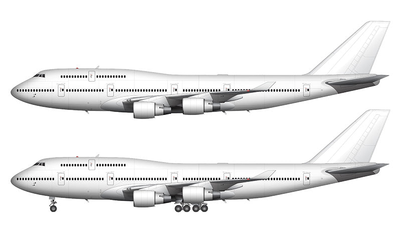 All White Boeing 747-400 with Pratt & Whitney engines template
