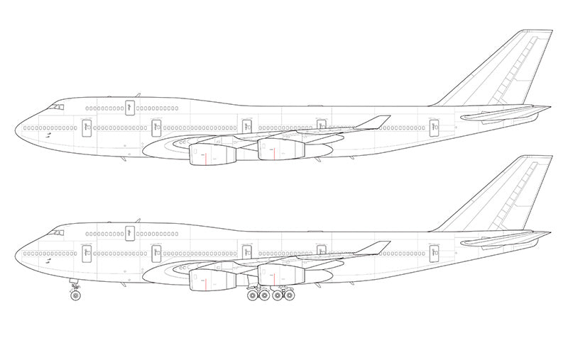 Boeing 747-400 with Rolls Royce engines line drawing