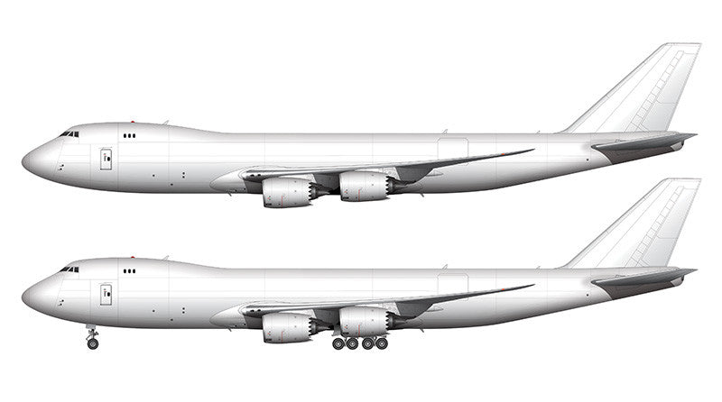 All White Boeing 747-8F template