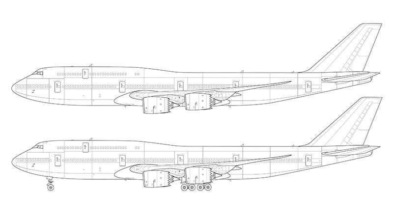 Boeing 747-8i line drawing