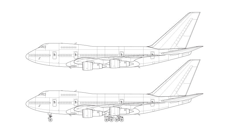 Boeing 747SP with Pratt & Whitney engines line drawing
