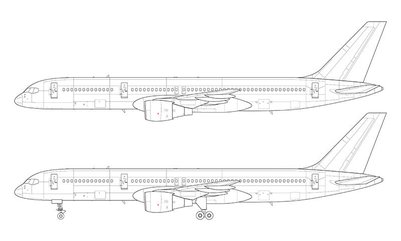 Boeing 757-200 with Pratt & Whitney engines line drawing
