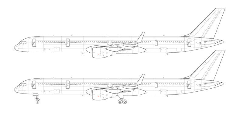 Boeing 757-300 with winglets line drawing