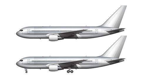 Bare Aluminum Boeing 767-200 with GE engines template