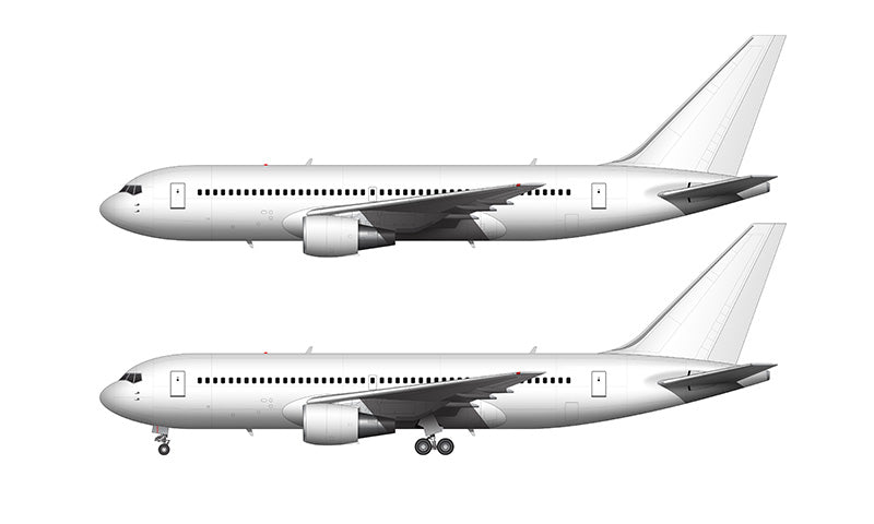 All White Boeing 767-200 with GE engines template