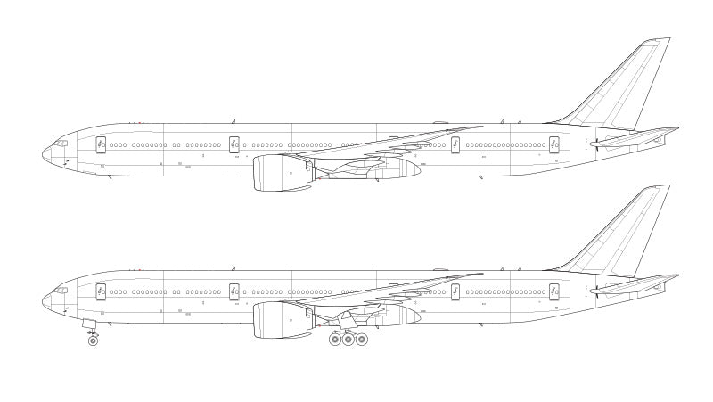 Boeing 777-9 line drawing