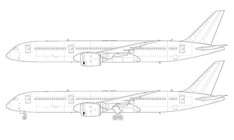 Boeing 787-9 line drawing