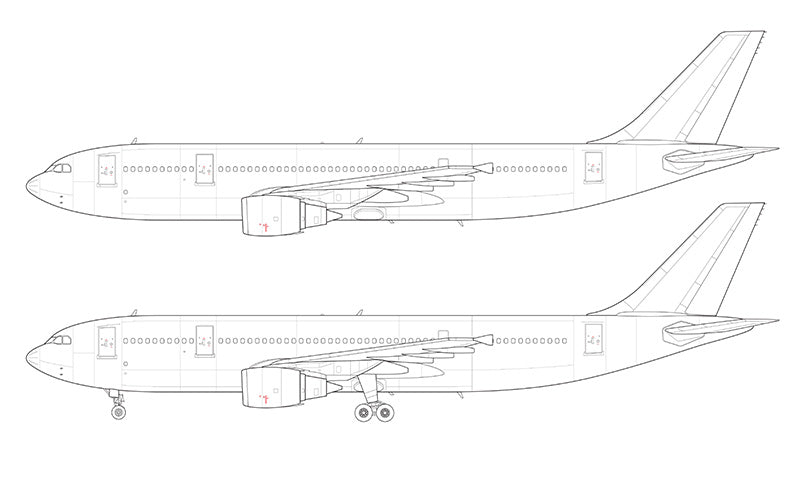 Airbus A300B4-600R with GE engines line drawing