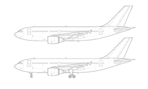 Airbus A310-300 with GE engines line drawing