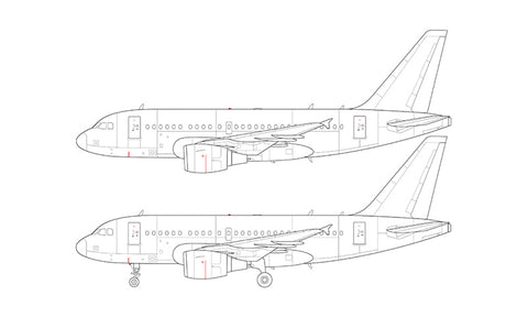 Airbus A318 with cfm56 engines line drawing