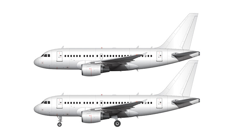 All White Airbus A318 with cfm56 engines template