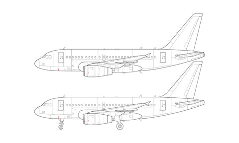 Airbus A318 with Pratt & Whitney engines line drawing