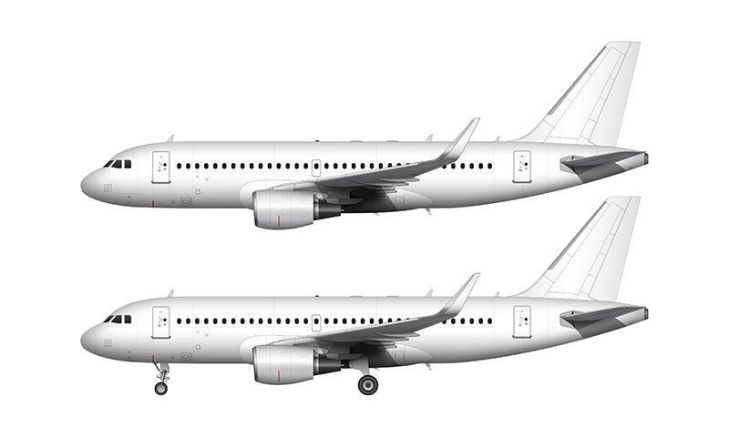 All White Airbus A319 with cfm56 engines and sharklets template