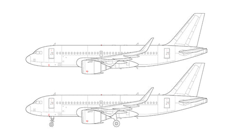 Airbus A319 NEO with CFM LEAP engines line drawing