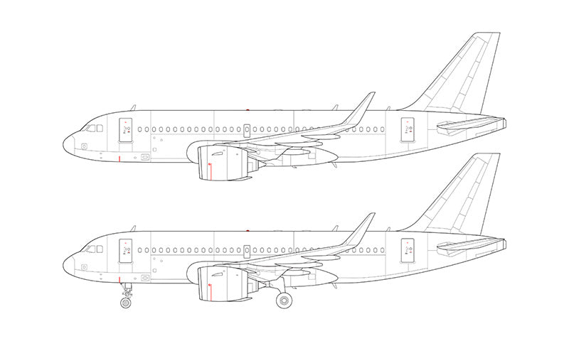 Airbus A319 NEO with Pratt & Whitney engines line drawing