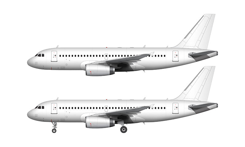 All White Airbus A319 with v2500 engines template