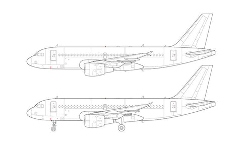 Airbus A319 with cfm56 engines line drawing