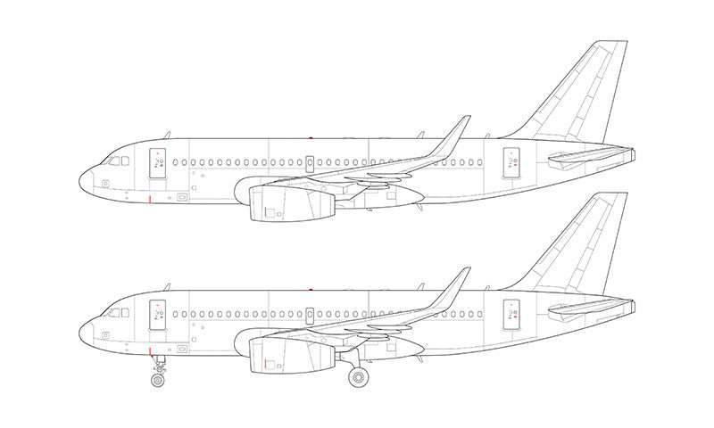 Airbus A319 with v2500 engines and sharklets line drawing