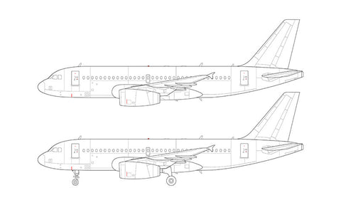 Airbus A319 with v2500 engines line drawing