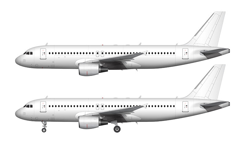 All White Airbus A320 with cfm56 engines template