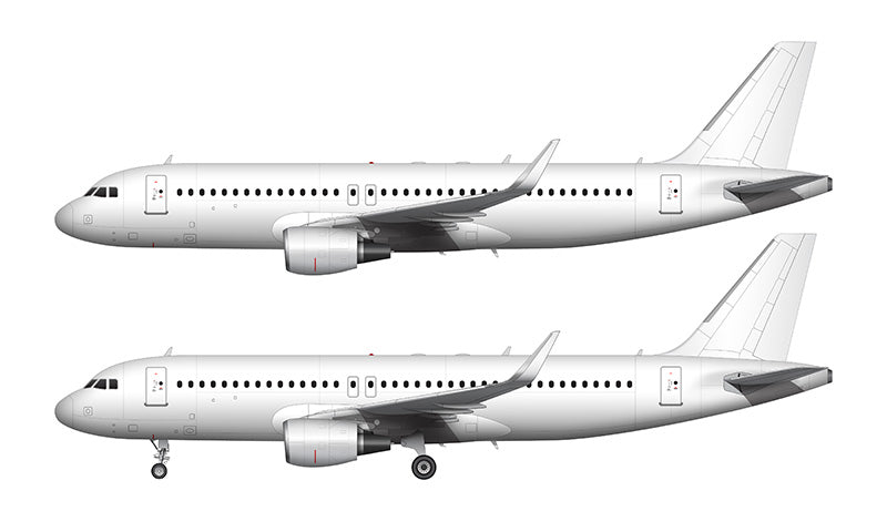 All White Airbus A320 with cfm56 engines and sharklets template